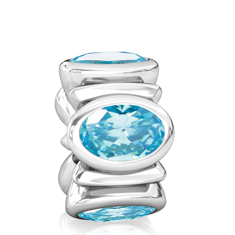Oval CZ Lights Bead Charm - Aqua Blue - Bella Fascini fits Pandora