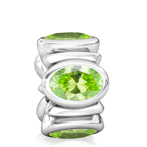 Oval CZ Lights Bead Charm - Peridot Green - Bella Fascini fits Pandora