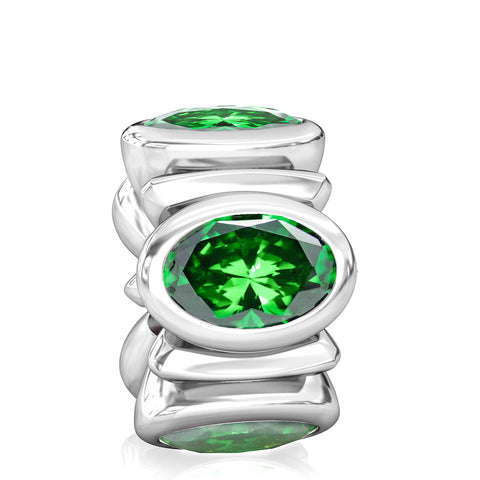Oval CZ Lights Bead Charm - Emerald Green - Bella Fascini fits Pandora