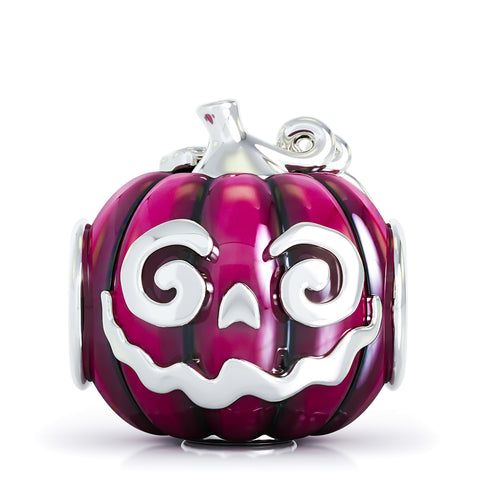 Halloween Pumpkin Jewel Luxe Color™ Enamel Bead Charm - Vivid Purple