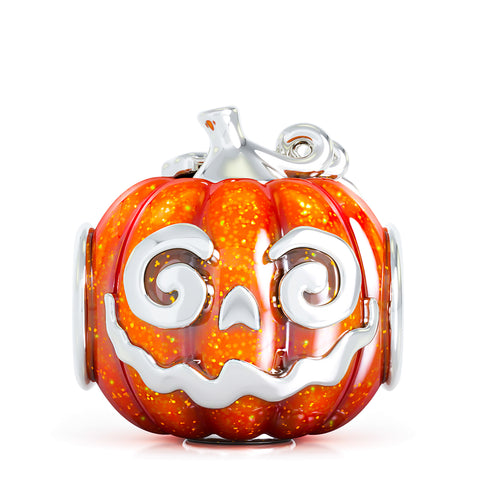 Halloween Pumpkin Jackie-O Luxe Color™ Enamel Bead Charm - Blaze Orange
