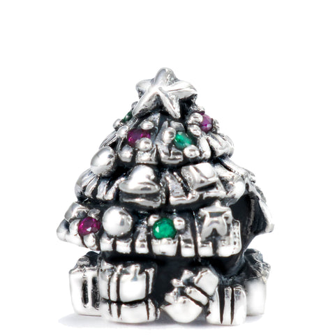 Christmas Tree with CZ Lights Bead Charm - Bella Fascini fits Pandora