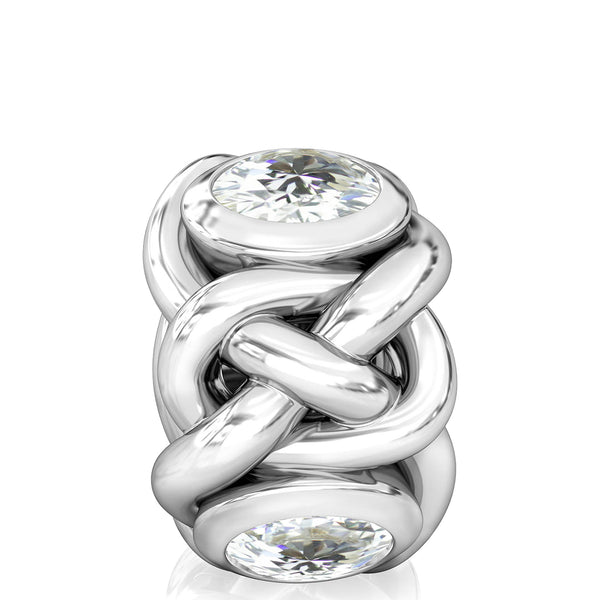 Celtic Knot Braid CZ Lights Bead Charm - Clear White - Bella Fascini fits Pandora