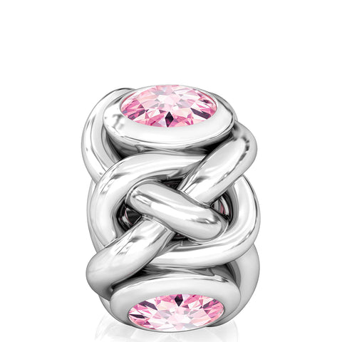 Celtic Knot Braid CZ Lights Bead Charm - Pink - Bella Fascini fits Pandora