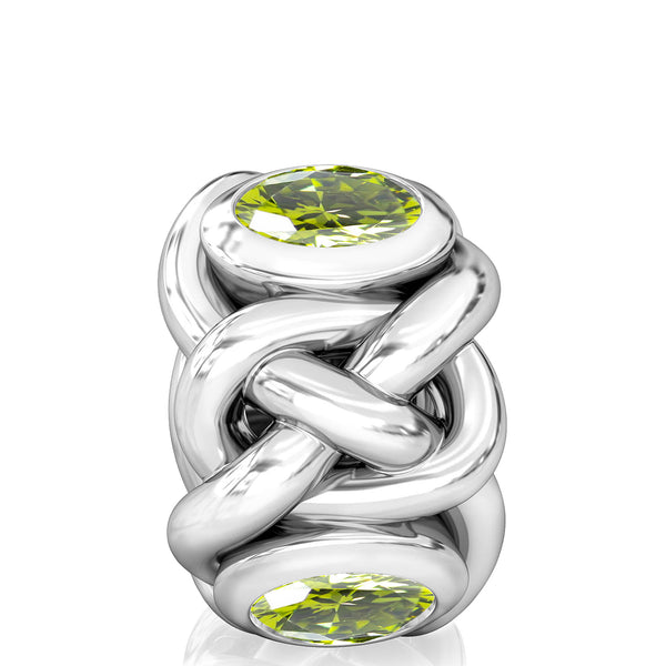 Celtic Knot Braid CZ Lights Bead Charm - Olivine Green - Bella Fascini fits Pandora