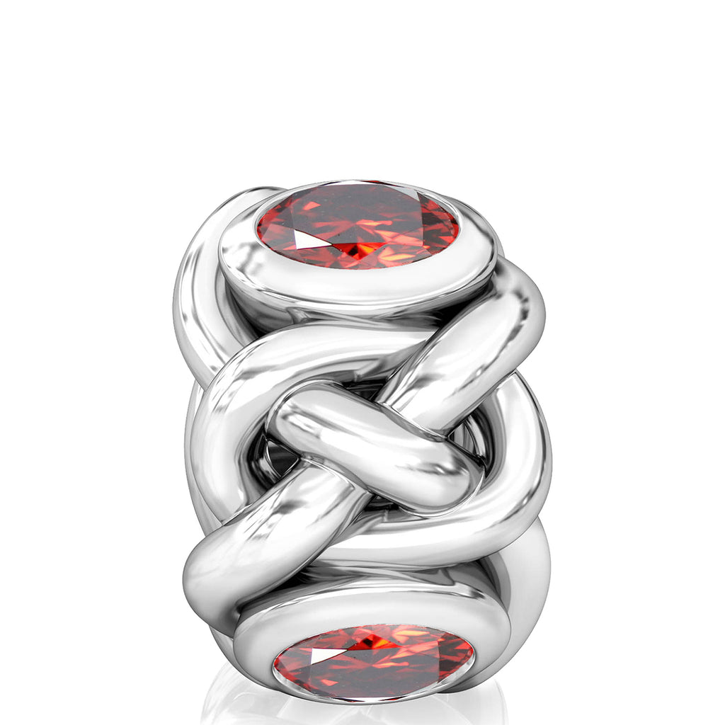 Celtic Knot Braid CZ Lights Bead Charm - Garnet Red - Bella Fascini fits Pandora
