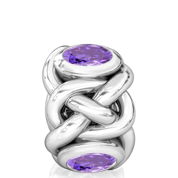 Celtic Knot Braid CZ Lights Bead Charm - Deep Royal Purple - Bella Fascini fits Pandora