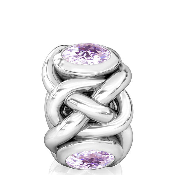 NEW Celtic Knot Braid CZ Lights Bead Charm - Light Amethyst Purple - Bella Fascini fits Pandora