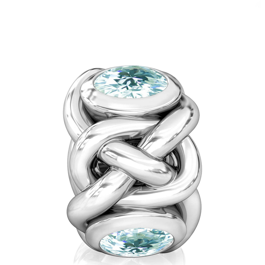 NEW Celtic Knot Braid CZ Lights Bead Charm - Light Aquamarine Blue - Bella Fascini fits Pandora