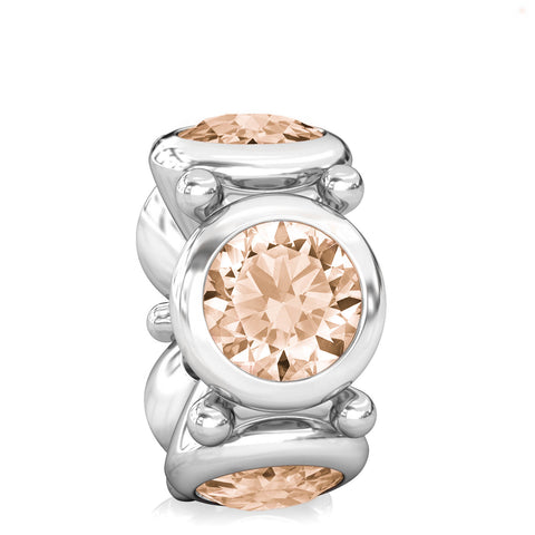 NEW Round CZ Lights Bead Charm - Light Champagne - Bella Fascini fits Pandora