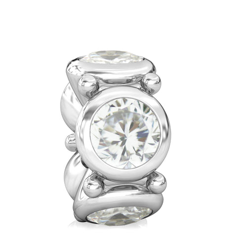 Round CZ Lights Bead Charm - Clear White - Bella Fascini fits Pandora