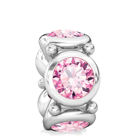 Round CZ Lights Bead Charms - Pink - Bella Fascini fits Pandora
