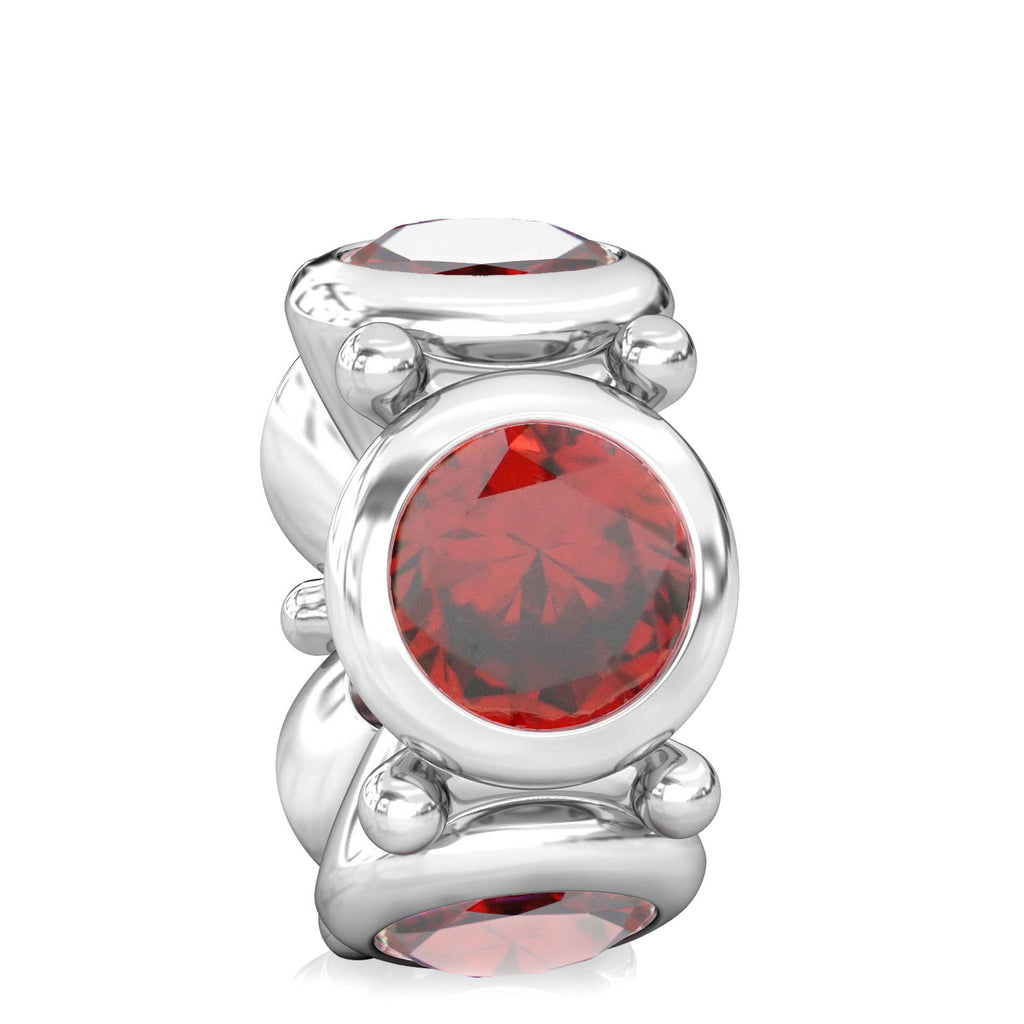 Round CZ Lights Bead Charm - Garnet Red - Bella Fascini fits Pandora