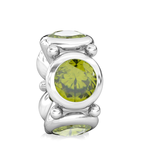 Round CZ Lights Bead Charm - Olivine Green - Bella Fascini fits Pandora
