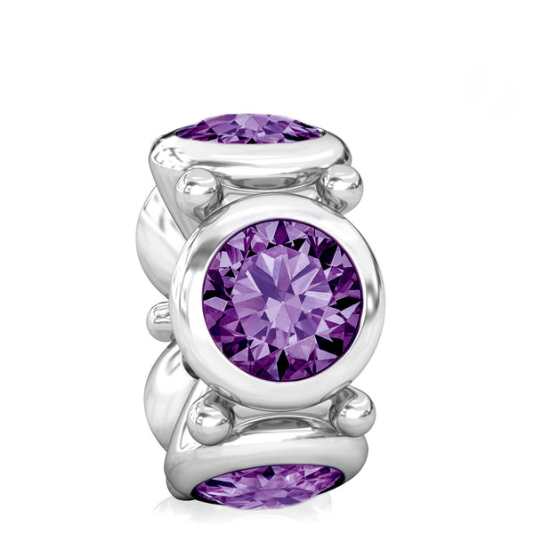 Round CZ Lights Bead Charm - Deep Royal Purple - Bella Fascini fits Pandora