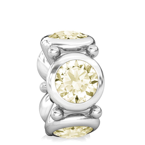 NEW Round CZ Lights Bead Charm - Light Lemon Yellow - Bella Fascini fits Pandora