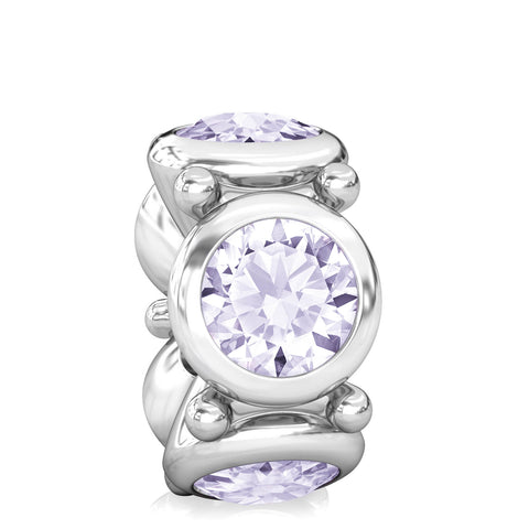 NEW  Round CZ Lights Bead Charm - Light Amethyst Purple - Bella Fascini fits Pandora