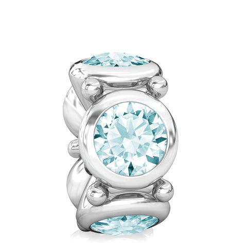 NEW Round CZ Lights Bead Charm - Light Aquamarine Blue - Bella Fascini fits Pandora