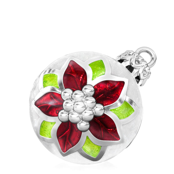 Poinsettia Christmas Tree Ornament Luxe Color™ Enamel Bead Charm - Traditional 2 - Bella Fascini fits Pandora