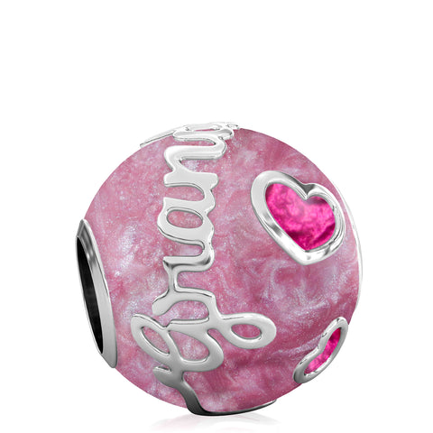 Family Bead Charm - GRANDMOTHER - Luxe Color™ Enamel Bead Charm - Royal Purple on Purple Pearlescent - Bella Fascini fits Pandora