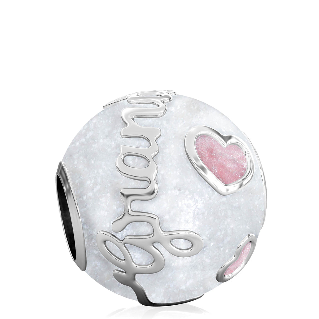 Family Bead Charm - GRANDMOTHER - Luxe Color™ Enamel Bead Charm - Pink on White Sparkle - Bella Fascini fits Pandora