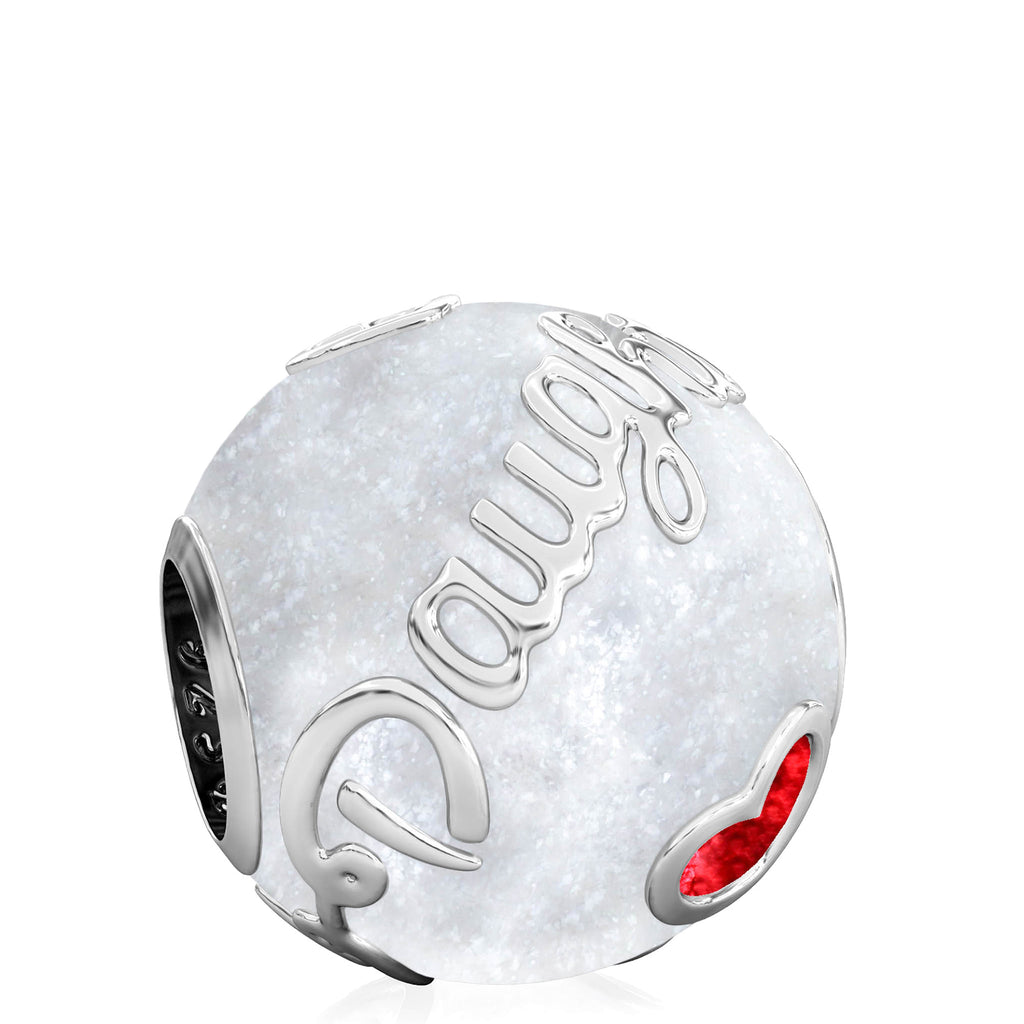 Family Bead Charm - DAUGHTER - Luxe Color™ Enamel Bead Charm - Red on White Sparkle - Bella Fascini fits Pandora