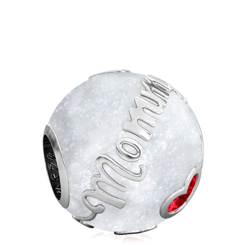 Family Bead Charm - MOMMY - Luxe Color™ Enamel Bead Charm - Red on White Sparkle - Bella Fascini fits Pandora