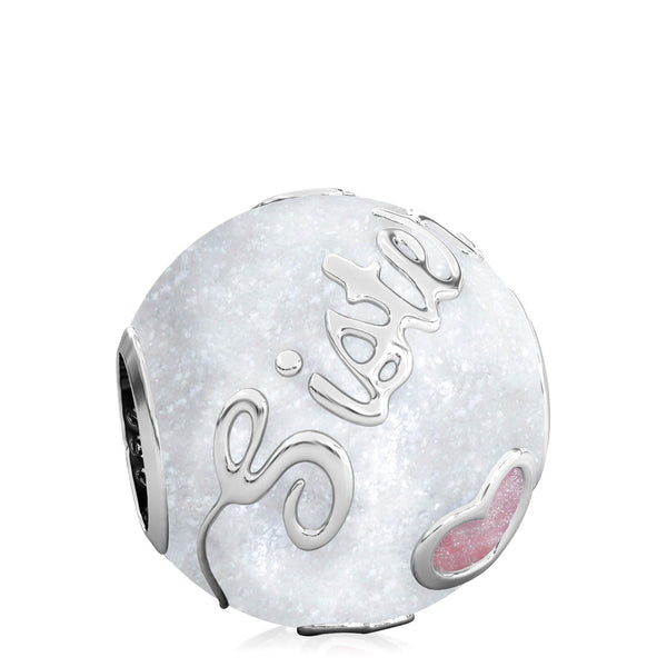 Family Bead Charm - SISTER - Luxe Color™ Enamel Bead Charm - Pink on White Sparkle - Bella Fascini fits Pandora