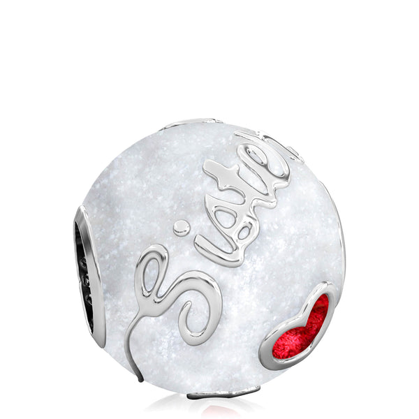 Family Bead Charm - SISTER - Luxe Color™ Enamel Bead Charm - Red on White Sparkle - Bella Fascini fits Pandora