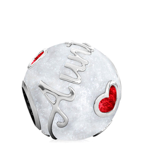 Family Bead Charm - AUNT - Luxe Color™ Enamel Bead Charm - Red on White Sparkle - Bella Fascini fits Pandora