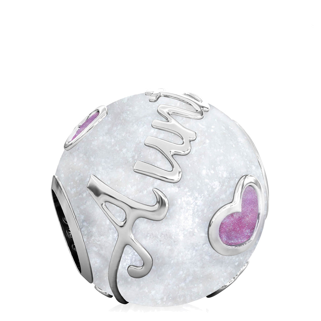 Family Bead Charm - AUNT - Luxe Color™ Enamel Bead Charm - Purple on White Sparkle - Bella Fascini fits Pandora