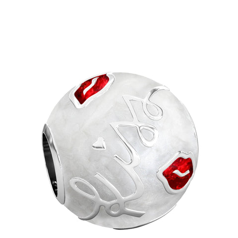 Kisses Luxe Color™ Enamel Bead Charm - Red on White Pearlescent - Bella Fascini fits Pandora