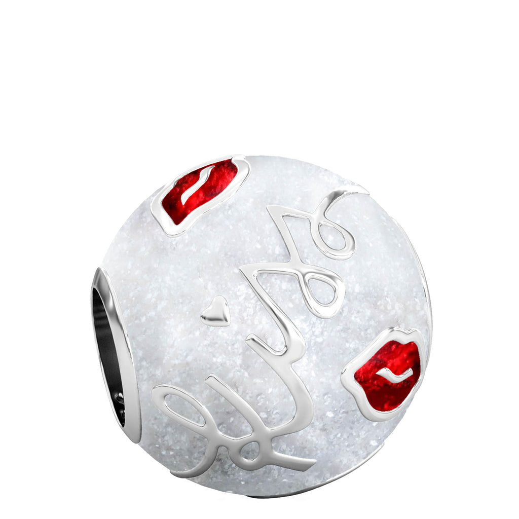 Kisses Luxe Color™ Enamel Bead Charm - Red on White Sparkle - Bella Fascini fits Pandora