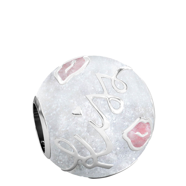 Kisses Luxe Color™ Enamel Bead Charm - Pink on White Sparkle - Bella Fascini fits Pandora