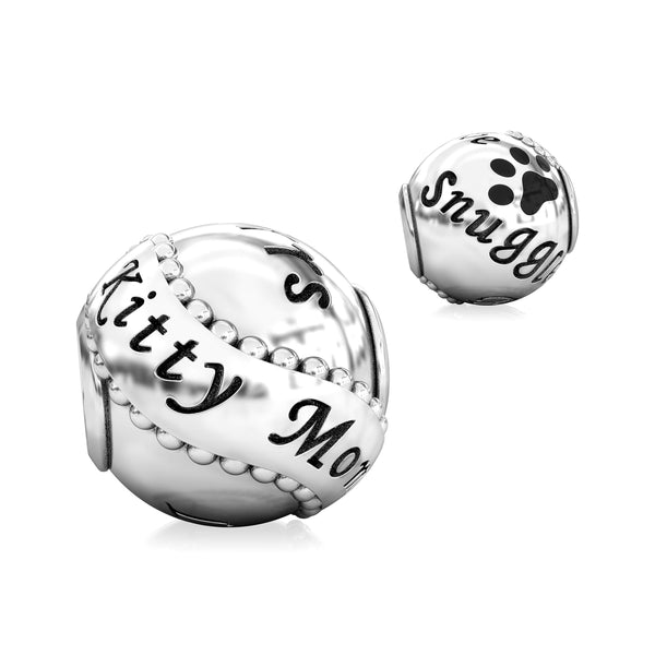 Animal Mommy Black Paw Luxe Color™ Enamel Bead Charm - Kitty Cat Mom - Bella Fascini fits Pandora