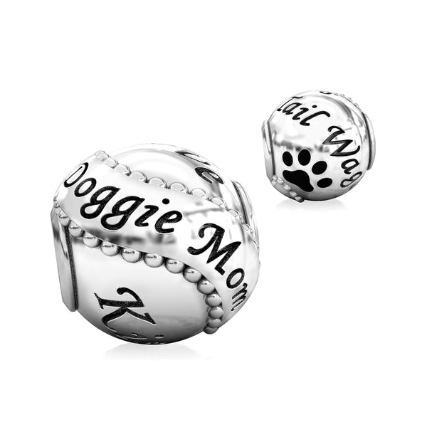 Animal Mommy Black Paw Luxe Color™ Enamel Bead Charm - Doggie Mom - Bella Fascini fits Pandora