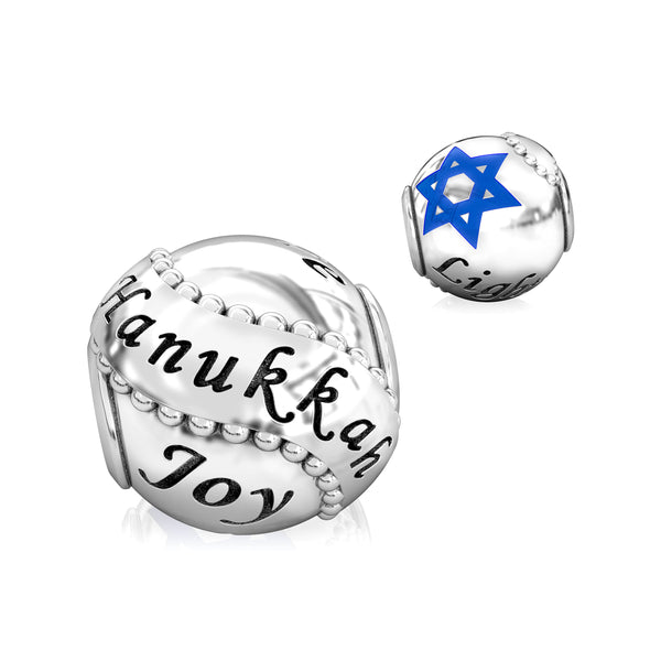 Holiday Celebration with Star of David Luxe Color™ Enamel Bead Charm - Hanukkah - Bella Fascini fits Pandora