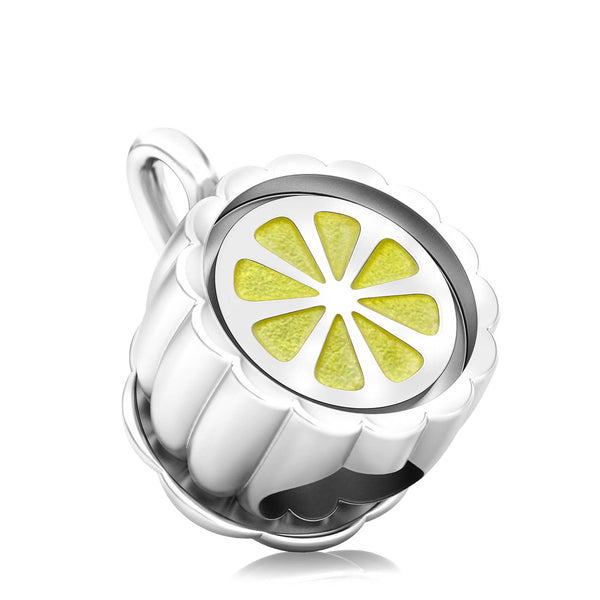 Tea Party Teacup Luxe Color™ Enamel Bead Charm - Lemon Tea - Bella Fascini fits Pandora