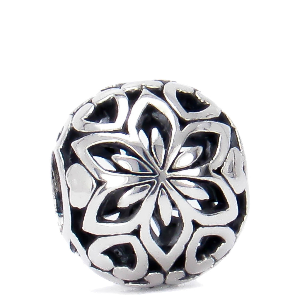 Floral Hearts Ball Bead Charm - Bella Fascini fits Pandora