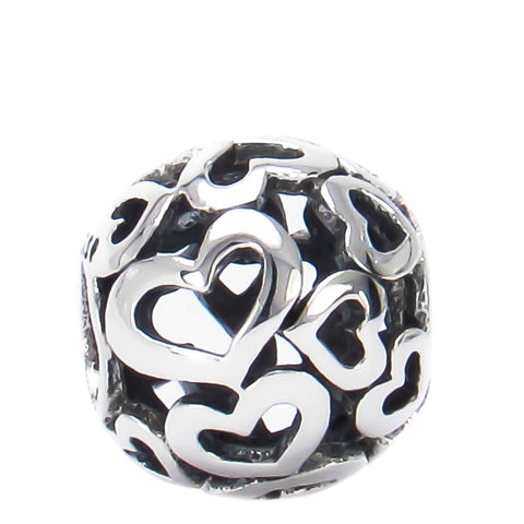 Open Hearts Bead Charm - Bella Fascini fits Pandora