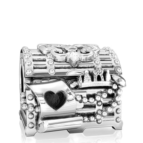 Jewelry Box Fleur de Lis Treasure Chest Bead Charm - Bella Fascini fits Pandora