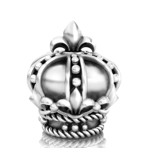 Fleur de Lis Royal Crown Bead Charm - Bella Fascini fits Pandora