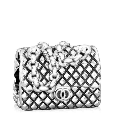 Designer Fashion Purse Bead Charm - Quilted Fold Over Chain Shoulder Bag - Bella Fascini fits Pandora