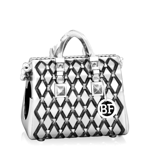 Designer Fashion Purse Bead Charm - Studded Tote Handbag - Bella Fascini fits Pandora