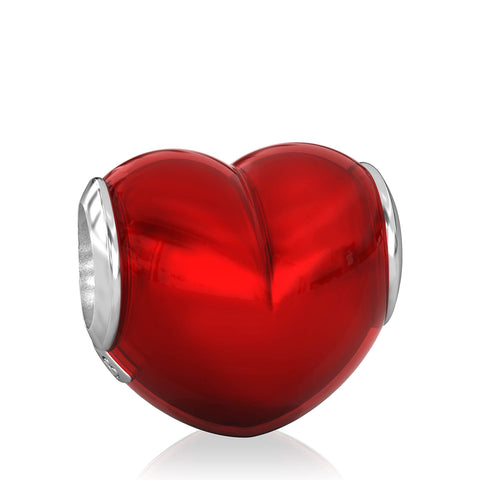 Big Heart Luxe Color™ Enamel Bead Charm - Candy Apple - Bella Fascini fits Pandora