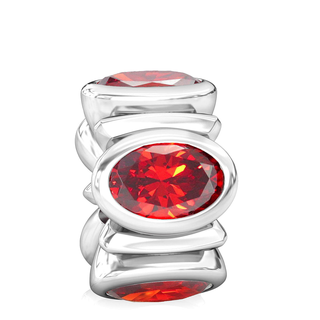 Oval CZ Lights Bead Charm - Light Garnet Red - Bella Fascini fits Pandora