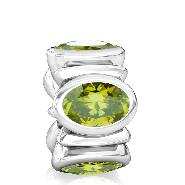 Oval CZ Lights Bead Charm - Olivine Green - Bella Fascini fits Pandora