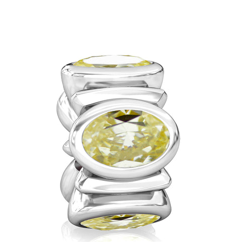 Oval CZ Lights Bead Charm - Soft Yellow - Bella Fascini fits Pandora