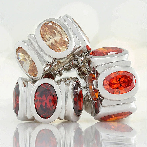 Oval CZ Lights Bead Charm - Orange - Bella Fascini fits Pandora