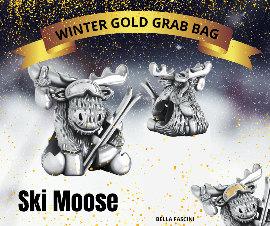 Winter Ski Moose - Gold Grab Bag Bead Charm